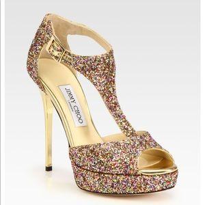 Multicolor glitter t strap heels